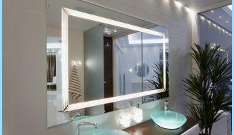 กระจกไฟในการตกแต่งภายในของห้องน้ำ