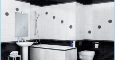 การออกแบบห้องน้ำสีดำและสีขาว
