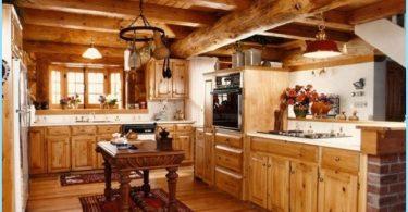 ห้องครัวในบ้านไม้ - การออกแบบที่ทันสมัยที่กระท่อม