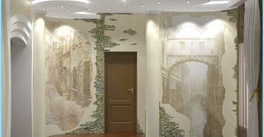 การออกแบบและการตกแต่งของห้องโถงทางเข้าที่มีหินตกแต่ง